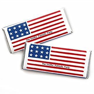 Big Dot of Happiness Personalized Stars and Stripes - Custom Memorial Day USA Patriotic Party Favors Candy Bar Wrapper - Set of 24
