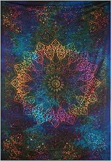 Marubhumi Twin Blue Tie Dye Bohemian Tapestry Elephant Star Mandala Tapestry Tapestry Wall Hanging Boho Tapestry Hippie Hippy Tapestry Beach Coverlet Curtain (Blue)