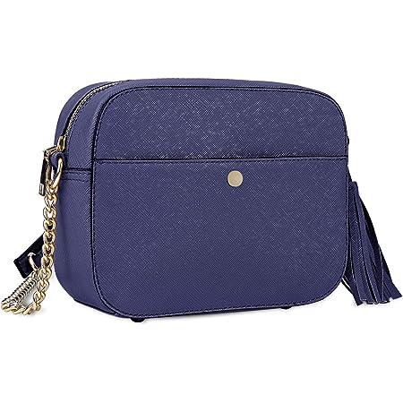 NEWHEY Pequeño Bolso Bandolera Mujer Bolsos de Hombro Cuero PU Elegante Cadena Mensajero Crossbody Bag Trabajo Moda Diario Vida Azul real