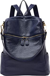 Convertible Genuine Leather Backpack Purse for Women Fashion Travel Bag