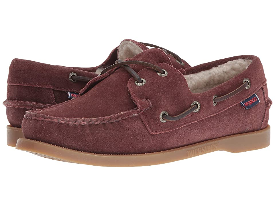 Sebago Dockside Shearling (Burgundy Suede) Women