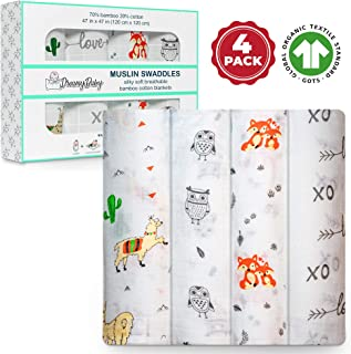 Muslin Swaddle Blankets, Baby Swaddle Wrap for Boys and Girls, Organic Cotton GOTS Certified Bamboo Blanket, XL Swaddle 47x47, Receiving Blankets, Fox Swaddle, Owl, Xo Love, Cactus