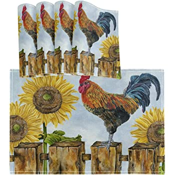 New S//4 Tapestry Farm Animal Rooster Hen Kitchen Dining Table Placemat Set