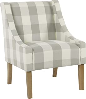 HomePop Miller Modern Swoop Arm Accent Chair, Gray Plaid