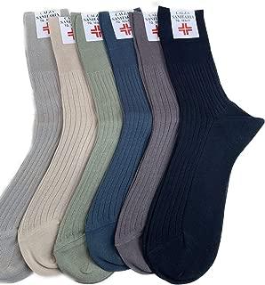 6 paia di calze da uomo per diabetici senza elastico-rimagliati a mano-cotone-Nero