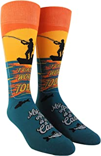 I Cant Work Today My Arm Is In A Cast Socks Funny Fishing Novelty Funky Saying (Multi) - Mens (9-11)
