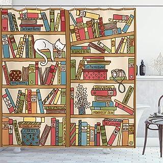 ABAKUHAUS Colorful Shower Curtain, Nerd Bohem Cat Kitten, Cloth Fabric Bathroom Decor Set with Hooks, 175 cm x 180 cm, Mul...