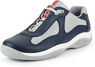 Prada Men's 'America's Cup' Leather with Mesh Sneaker, Blue/Silver