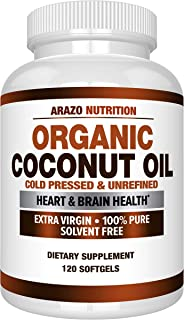 Organic Coconut Oil 2000mg - 100% Extra Virgin Cold Pressed for Weight Support, Skin, Hair, Nails - 120 Softgel Capsules -...