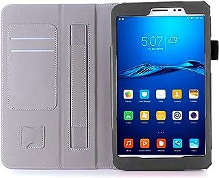 Huawei Mediapad T2 8.0 Pro ケース, ISIN Huawei MediaPad T2 8.0 Pro/Honor Pad 2 8.0 保護ケース 超薄型 用スマートケース マグネット開閉式 スタンド機能付き 高級PU レザーケース カードスロット付き ・ リストバンド付(ブラック)