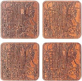Kyoto Untersetzer mit Landkarte aus Sapeli-Holz, 4 Stück, m