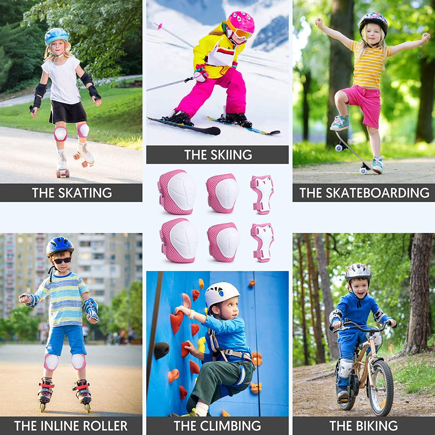 Toddler Knee Pads and Elbow Pads 6 in 1 Set with Wrist Guard for Skating Cycling Bike Rollerblading Scooter Skateboard Inline Scooter Riding Sport Xsiyu Kids Protective Gear