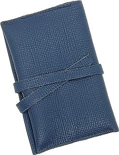 Astuccio Portatabacco Artigianale Vera Pelle - Portasigarette in cuoio – Porta penne (Blu martellinato) – MADE IN ITALY