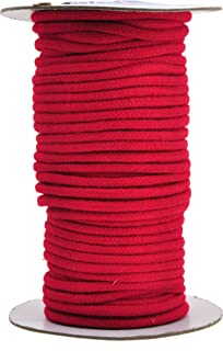 Mandala Crafts Soft Drawstring Replacement Rope Upholstery Crochet Macramé Cotton Welt Trim Piping Cord (Red, 4mm)