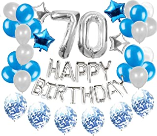 36 PCS LaVenty Silver Blue 70th Birthday Decorations Party Supplies 70 Birthday Balloons Happy Birthday Balloon Banner 70 Birthday Decorations