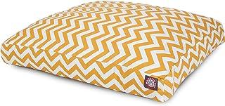 سرير Majestic ذو الحلقات السوداء للحيوانات الأليفة مستطيل الشكل للخروج في الهواء الطلق., Large, Yellow