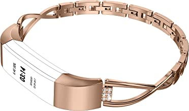 Wearlizer Compatible for with Fitbit Alta Bands Small Silver Rose Gold Fitbit Alta hr Women Metal Replacement Bands Accessories Straps Bracelet Bangle Wrist Bands Small/Large