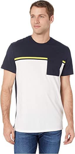 Short Sleeve Color Blocked Pocket T-Shirt