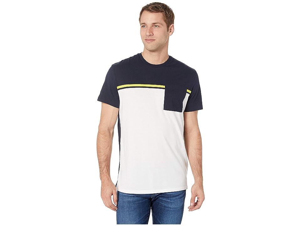 Calvin Klein Short Sleeve Color Blocked Pocket T-Shirt (Standard White Combo) Men