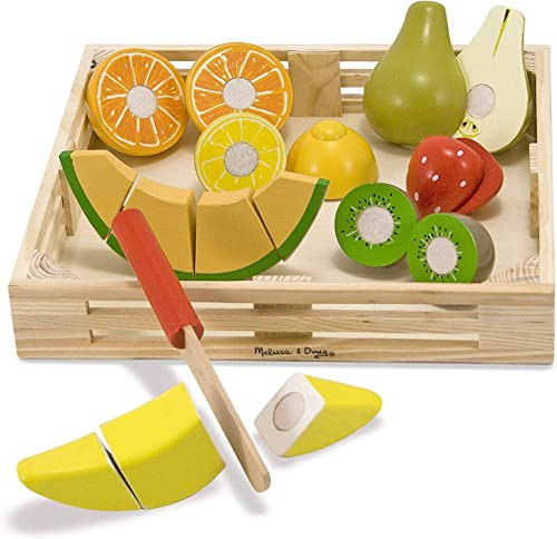 Melissa & Doug 4021 Cutting Fruit Set - Wooden Play Food Kitchen Accessory