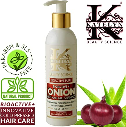 Katelyn BioActive+ Onion Shampoo With Caffeine & Curry Leaf 200ml | Innovative Cold Pressed Hair Care | Anti Hair Fall | Anti Dandruff Daily Care Shampoo