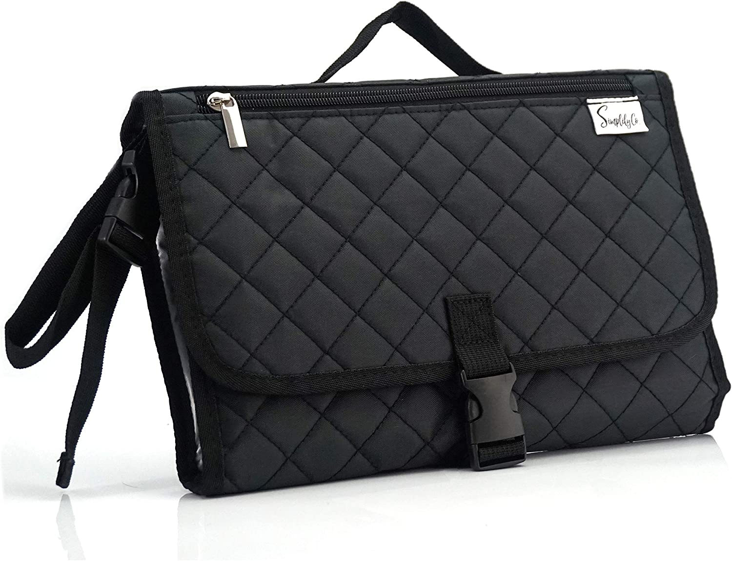 Simplily Co. Baby Portable Travel Diaper Changing Station Mat Pad Clutch Bag (Black Solid)