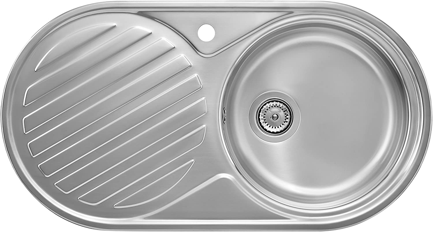 Roca Duo Top-Mount Kitchen Sink Oval Stainless Steel?–?Kitchen Sinks (Top-Mount Kitchen Sink, Oval, Stainless Steel, Stainless Steel, 1?Bowls, Circle)