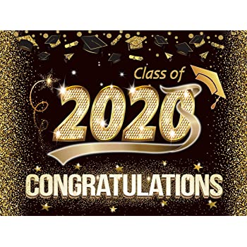 8x8ft Graduation Party Backdrop 2019 Graduate Grads Senior Year Prom Parties Decoration Poster Banner Mortarboard Sequins Photo Background Photo Studio Props