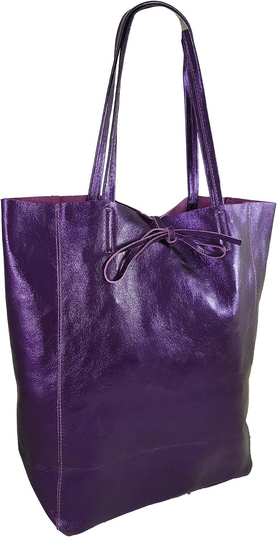 Freyday Sac cabas en cuir véritable pour femme avec poche intérieure dans de nombreuses couleurs, sac à bandoulière, look métallique Violet Métallisé