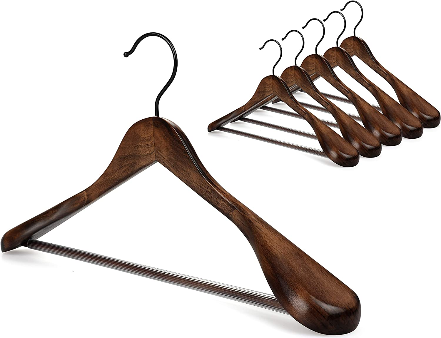 TOPIA HANGER Set San Francisco Mall of 6 Beautiful Wood OFFicial mail order Coat Wooden Han Suit Jacket