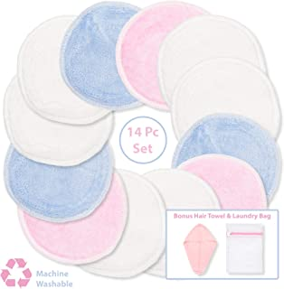 Bamboo Makeup Remover Pads - Reusable Cotton Rounds for Face with Mesh Bag and Hair Turban – 12 Facial Cleansing Wipes Gently Remove Facial and Eye Makeup (14 Piece Set)