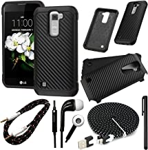 QCO WIRELESS Rugged Shock Proof Case + 6ft Premium USB Cable + Braided Aux + in-Ear Stereo Headset & Metallic Stylus Pen Bundle for K7 (MetroPCS) (Solid Carbon Fiber Wallet)