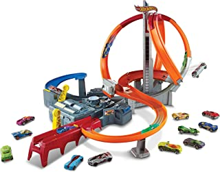 Hot Wheels Spin Storm Track Set Orange Track High Speed Multi-Lane Loops Motorized BoosterAges 6 and Older [Amazon Exclus...