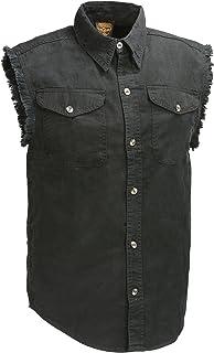 Bikers Edge Men`s Sleeveless Button Front Denim Shirt w/Chest Pockets