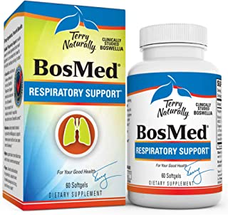 Terry Naturally BosMed Respiratory Support - 375 mg Boswellia Complex, 60 Softgels - Lung, Bronchial & Sinus Function Supp...