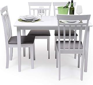 Conjunto de Comedor Kansas White Mesa de Comedor de Madera lacada en Blanco de 112x72 cm y 4 sillas de Comedor de Madera l...