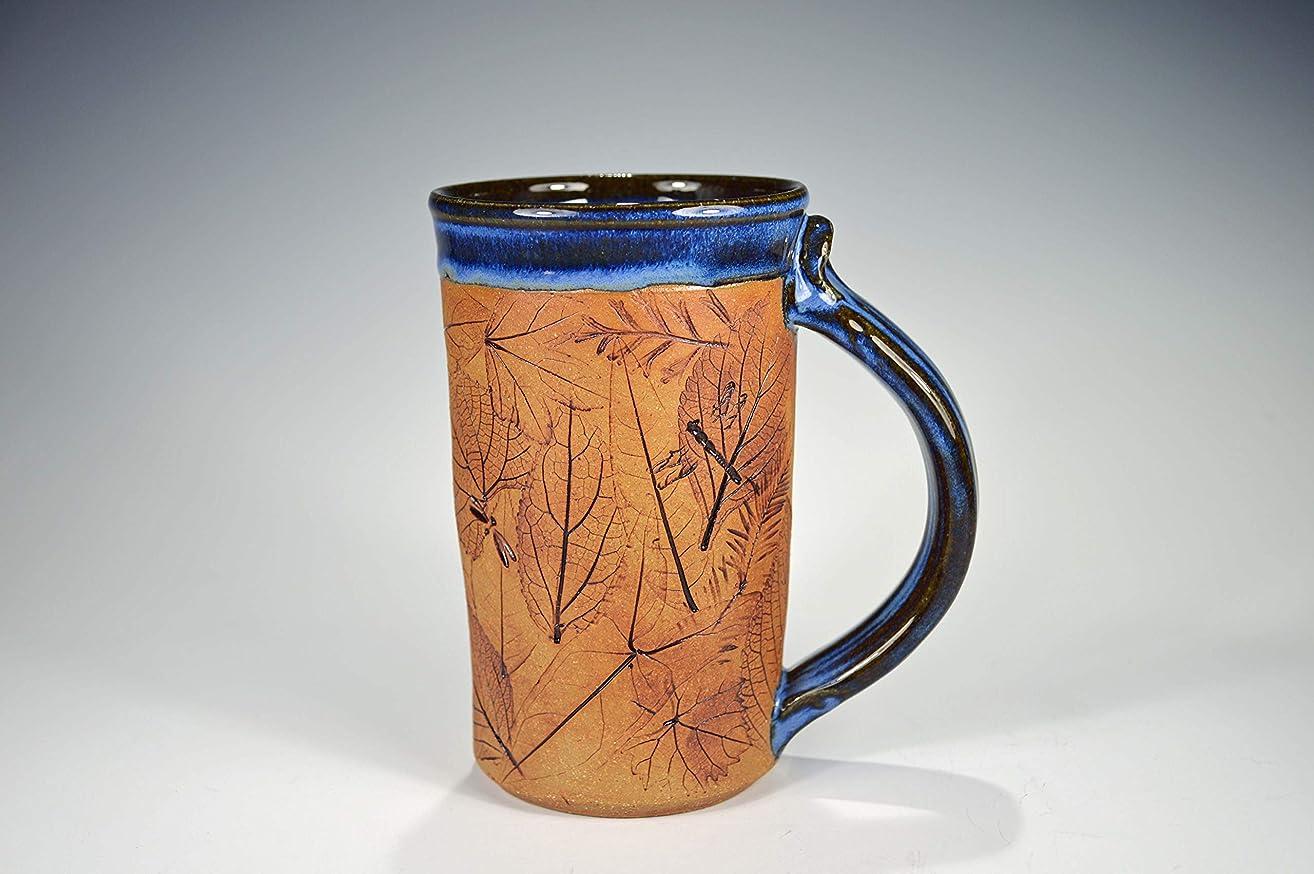 Leaf Mug Handmade Stoneware Clay Pottery w/Leaves & Dragonfly Impressions