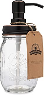Jarmazing Products Classic Farmhouse Mason Jar Soap Dispenser - Oil-Rubbed Bronze - with 16 Ounce Ball Mason Jar