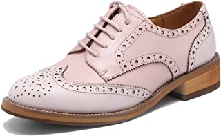a8671ce12a93b6 U-lite Women s Perforated Lace-up Wingtip Leather Flat Oxfords Vintage  Oxford Shoes Brogues