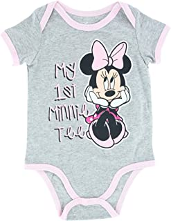 Disney World Grey and Pink Body Suit for Baby Girl, My First Minnie Mouse Tee, Newborn Girls Gift Idea