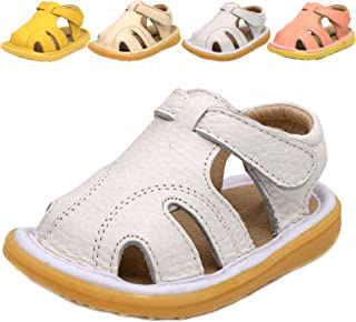 040abe2ab3e LONSOEN Toddler Boy Girl Summer Outdoor Closed-Toe Leather Sandals