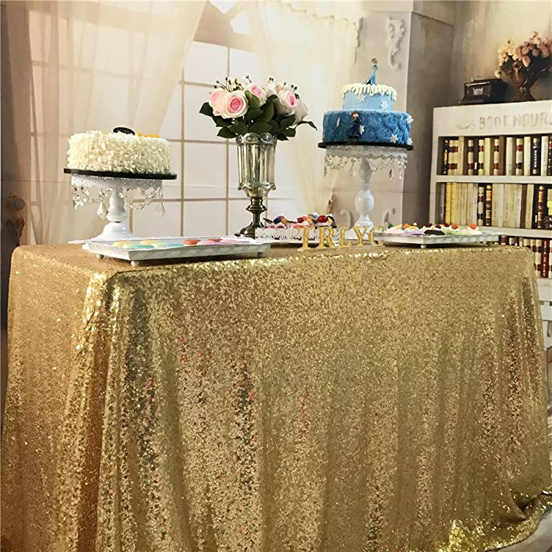 TRLYC Fathers Day 60 By 120 Inch Christmas Gold Sequin Table Cloth For Wedding Party Banquet