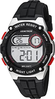 Armitron Sport Women's 45/7105RBK Red Accented Digital Chronograph Black Silicone Strap Watch