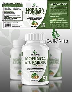 Premium Moringa & Turmeric 120 Count – 100% Organic Powders 1100mg – Complete Supplement Superfood – Complex Blend of Moringa, Turmeric, and Bioperine Pepper Extract – No GMO's, Gluten, Vegan Capsules