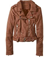 Blank NYC Kids - Faux Suede Moto Jacket in Coffee Bean (Big Kids)
