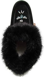 Laurentian Chief Fur Collar Rabbit Suede Moccasins Thick Fleece Lining