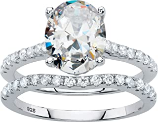 Platinum over Sterling Silver Oval Cut and Round Cubic Zirconia 2 Pair Bridal Ring Set
