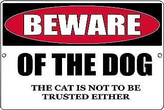 Rogue River Tactical Funny Beware of The Dog and Cat Metal Tin Sign Indoor Outdoor Yard Wall Decor Warning Sign
