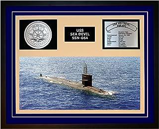 Navy Emporium USS SEA Devil SSN 664 Framed Navy Ship Display Blue
