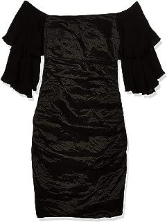 Nicole Miller Women's Solid Techno Metal Strpless Ruffle SLV Dress
